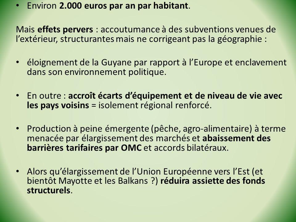 Environ 2.000 euros par an par habitant. Mais effets pervers : accoutumance à des subventions venues de lextérieur, structurantes mais ne corrigeant p