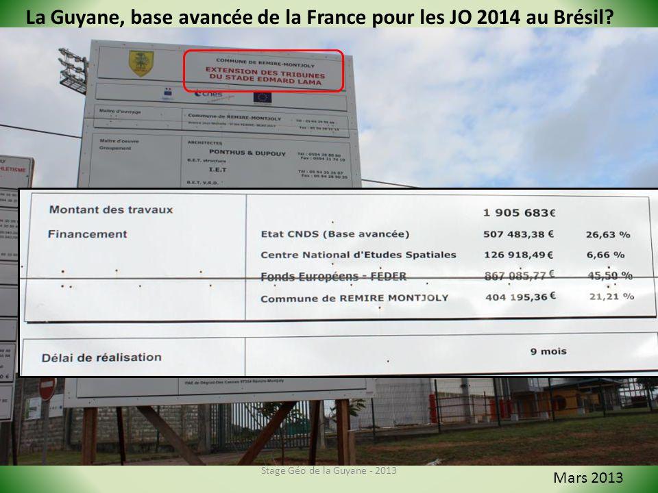 Stage Géo de la Guyane - 2013 Mars 2013 La Guyane, base avancée de la France pour les JO 2014 au Brésil?