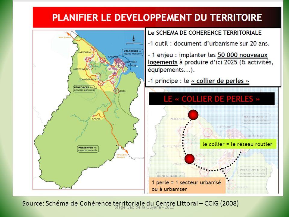 Stage Géo de la Guyane - 2013 Source: Schéma de Cohérence territoriale du Centre Littoral – CCIG (2008)