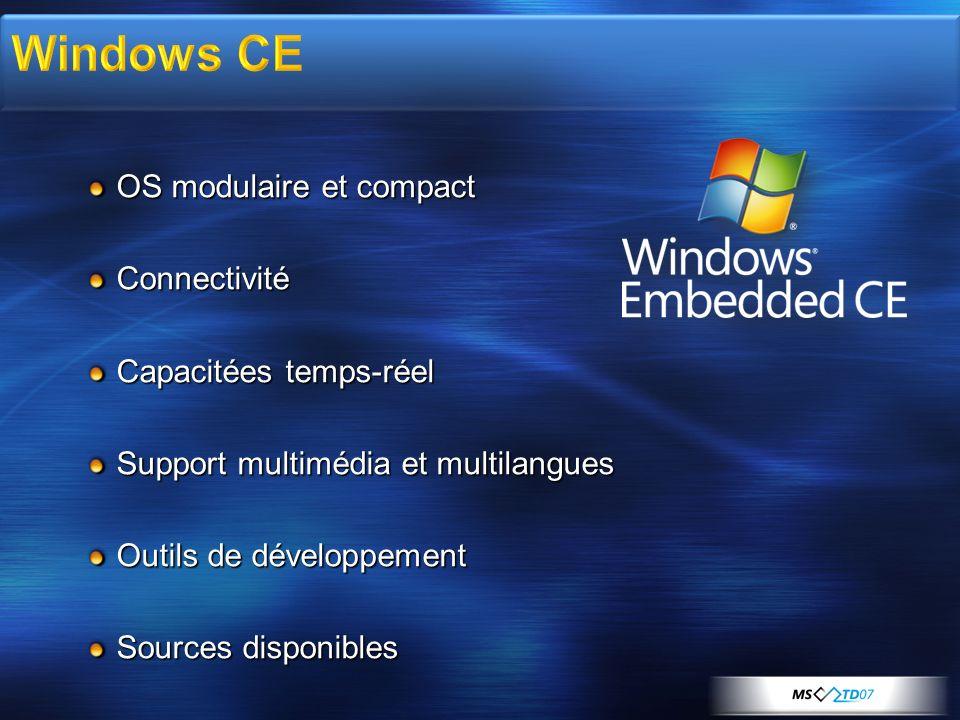 OS modulaire et compact Connectivité Capacitées temps-réel Support multimédia et multilangues Outils de développement Sources disponibles