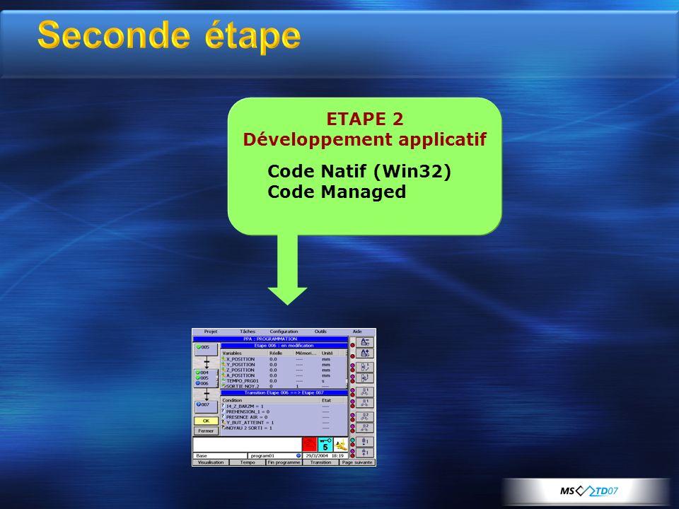 ETAPE 2 Développement applicatif Code Natif (Win32) Code Managed