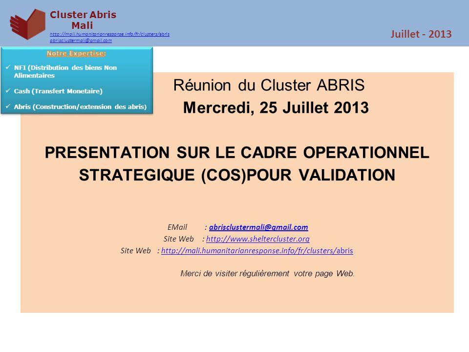 Cluster Abris Mali http://mali.humanitarianresponse.info/fr/clusters/abris abrisclustermali@gmail.com Juillet - 2013 INFORMATION SUR CLUSTER