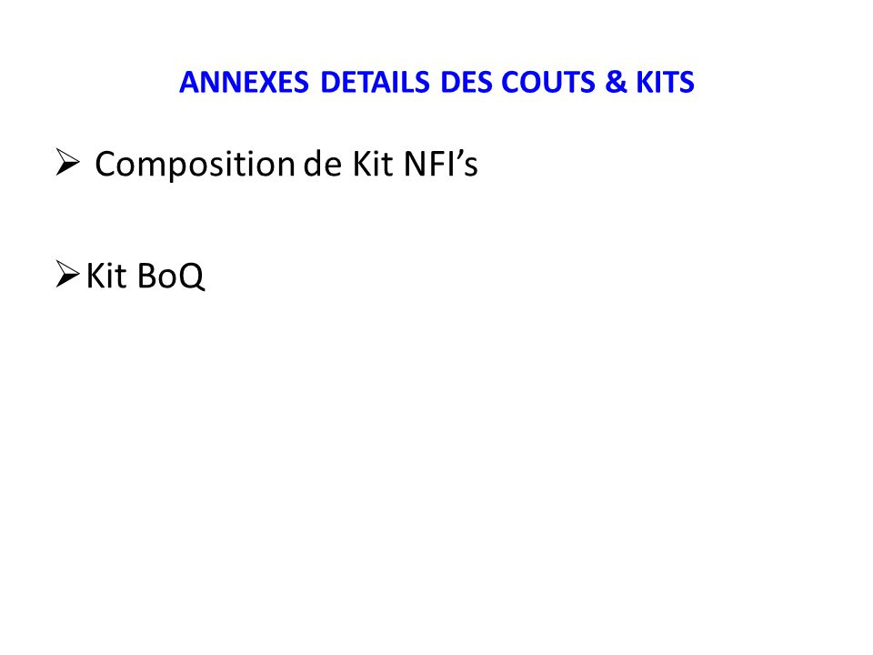 ANNEXES DETAILS DES COUTS & KITS Composition de Kit NFIs Kit BoQ