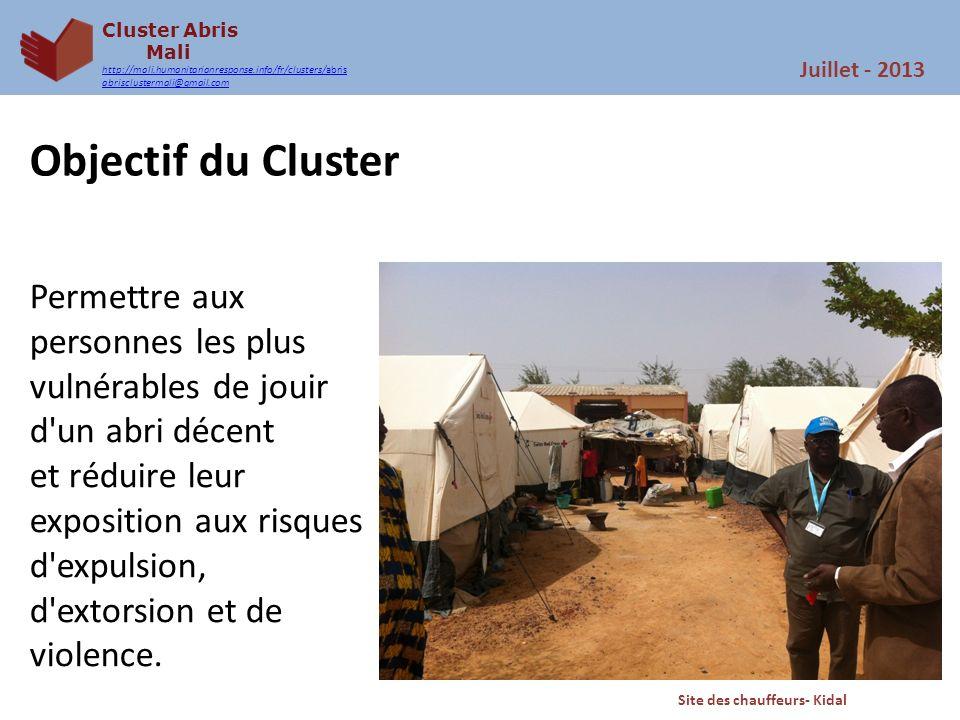Cluster Abris Mali http://mali.humanitarianresponse.info/fr/clusters/abris abrisclustermali@gmail.com Objectif du Cluster Permettre aux personnes les
