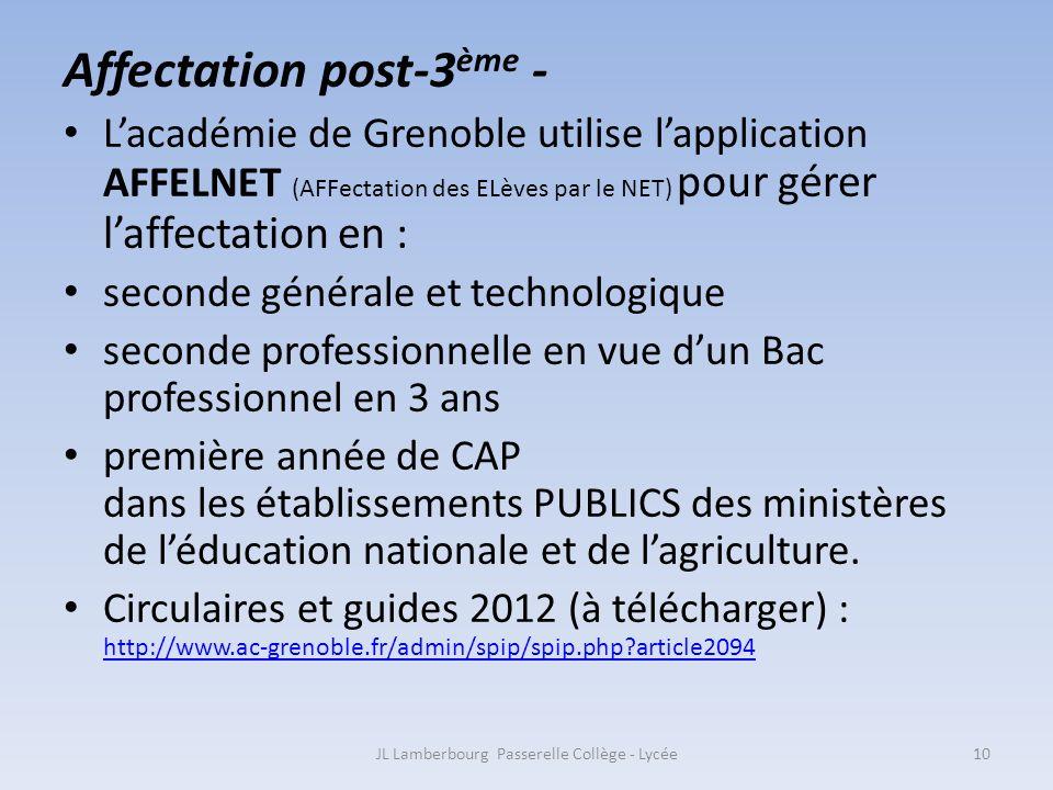 Affectation post-3 ème - Lacadémie de Grenoble utilise lapplication AFFELNET (AFFectation des ELèves par le NET) pour gérer laffectation en : seconde