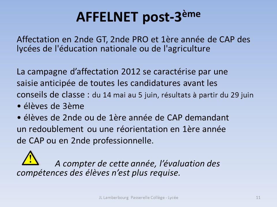 AFFELNET post-3 ème Affectation en 2nde GT, 2nde PRO et 1ère année de CAP des lycées de l'éducation nationale ou de l'agriculture La campagne daffecta
