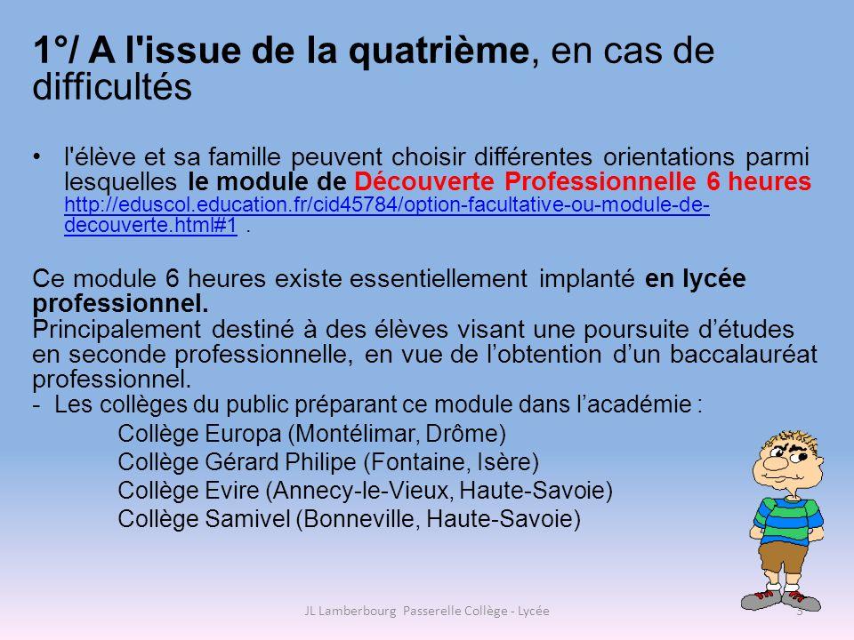 2°/ A l issue de la quatrième, en cas de difficultés Lélève et sa famille peuvent également opter pour une poursuite de leur scolarité en alternance http://eduscol.education.fr/cid46799/dispositifs-en- alternance-au-college.html?rub=345.