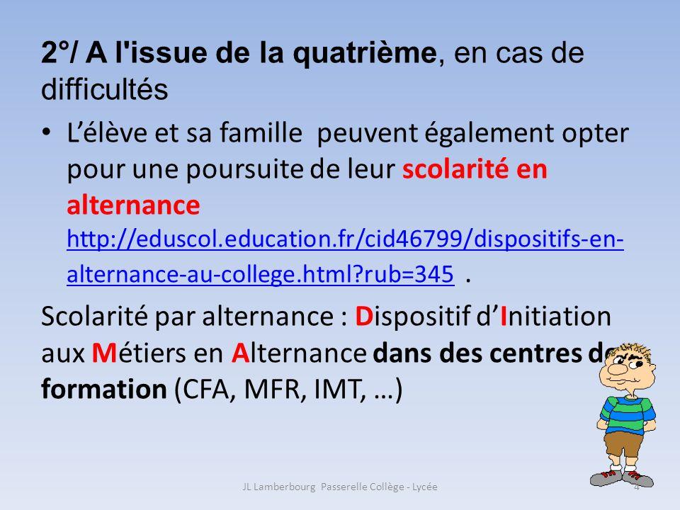 2°/ A l'issue de la quatrième, en cas de difficultés Lélève et sa famille peuvent également opter pour une poursuite de leur scolarité en alternance h
