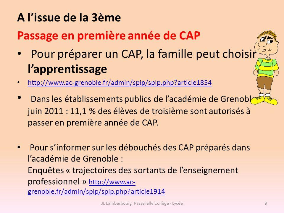 A lissue de la 3ème Passage en première année de CAP Pour préparer un CAP, la famille peut choisir lapprentissage http://www.ac-grenoble.fr/admin/spip