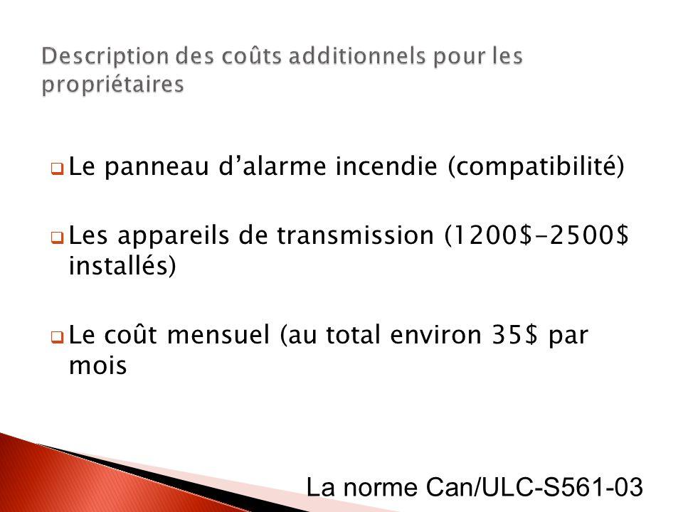 Le panneau dalarme incendie (compatibilité) Les appareils de transmission (1200$-2500$ installés) Le coût mensuel (au total environ 35$ par mois La no