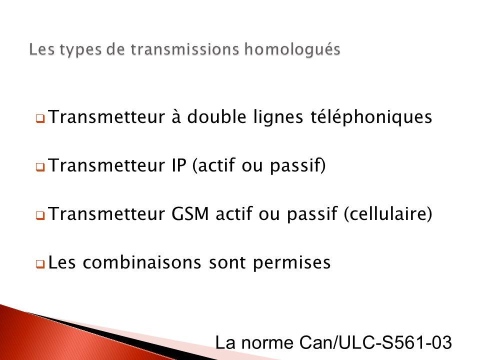 Transmetteur à double lignes téléphoniques Transmetteur IP (actif ou passif) Transmetteur GSM actif ou passif (cellulaire) Les combinaisons sont permi