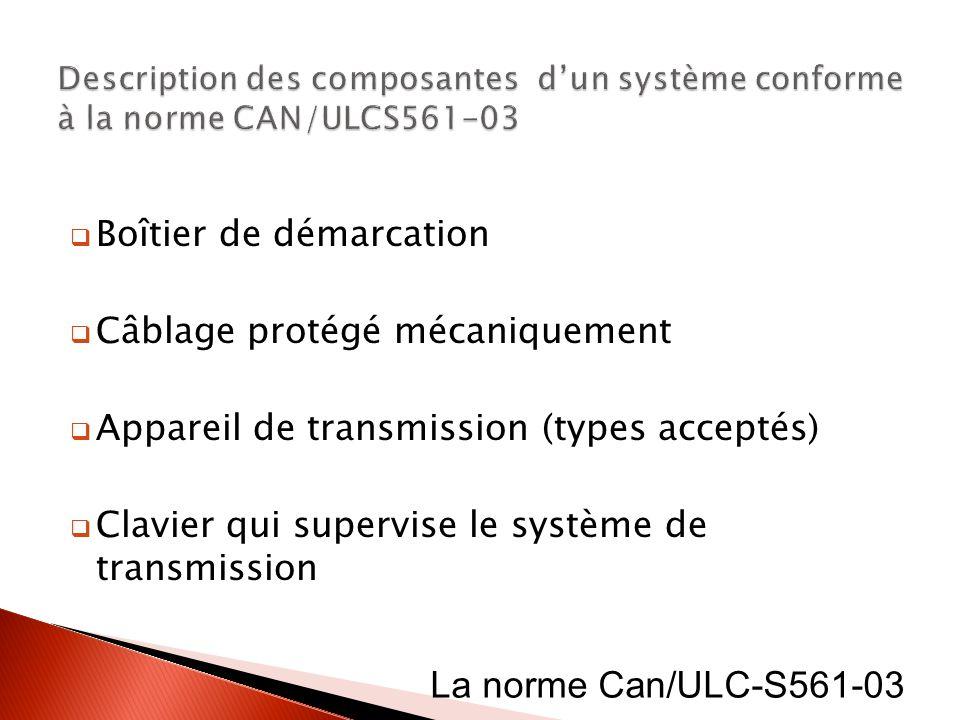 Boîtier de démarcation Câblage protégé mécaniquement Appareil de transmission (types acceptés) Clavier qui supervise le système de transmission La nor