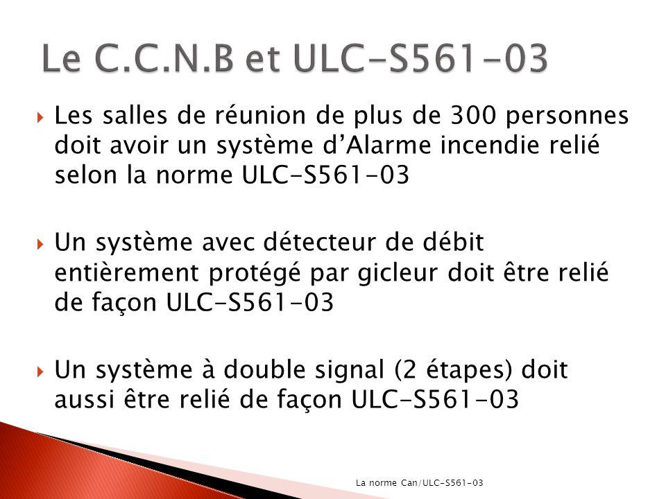 Les salles de réunion de plus de 300 personnes doit avoir un système dAlarme incendie relié selon la norme ULC-S561-03 Un système avec détecteur de dé