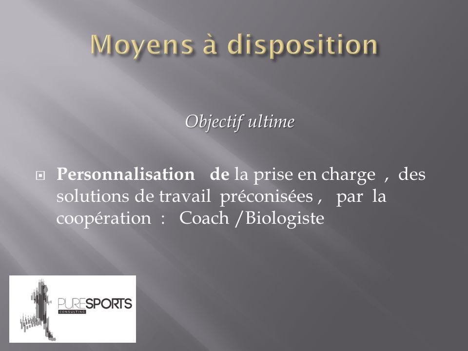 Objectif ultime Objectif ultime Personnalisation de la prise en charge, des solutions de travail préconisées, par la coopération : Coach /Biologiste