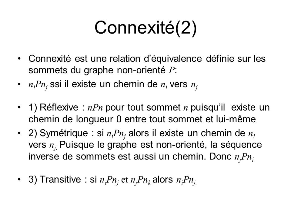 Connexité(2) Connexité est une relation déquivalence définie sur les sommets du graphe non-orienté P : n i Pn j ssi il existe un chemin de n i vers n