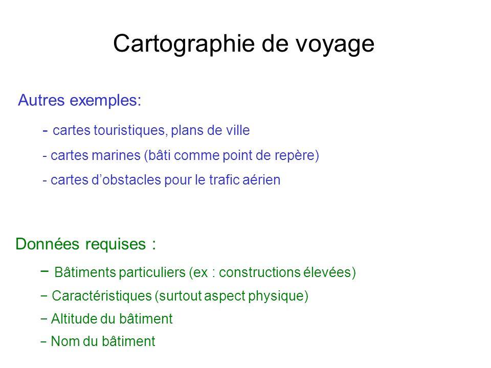 Cartographie de voyage Données requises : Bâtiments particuliers (ex : constructions élevées) Caractéristiques (surtout aspect physique) Altitude du b