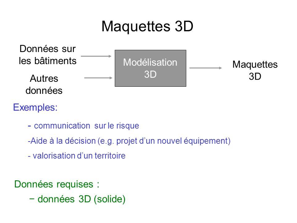 Maquettes 3D Données requises : données 3D (solide) Données sur les bâtiments Autres données Maquettes 3D Exemples: - communication sur le risque -Aide à la décision (e.g.