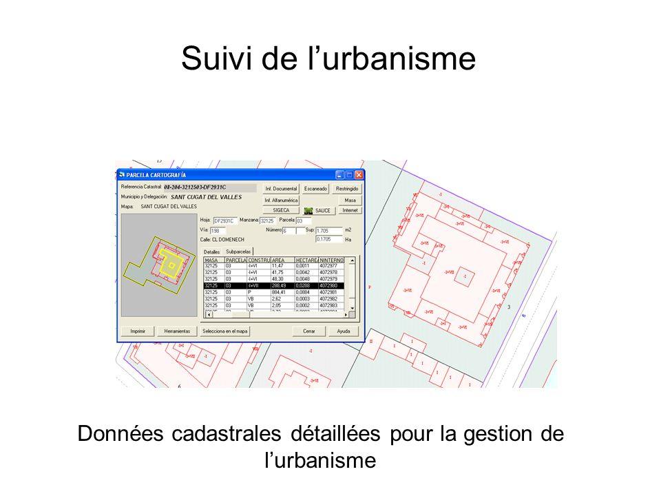 Suivi de lurbanisme Monitoring Données cadastrales détaillées pour la gestion de lurbanisme