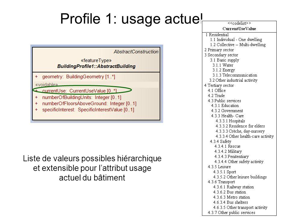 Profile 1: usage actuel Liste de valeurs possibles hiérarchique et extensible pour lattribut usage actuel du bâtiment