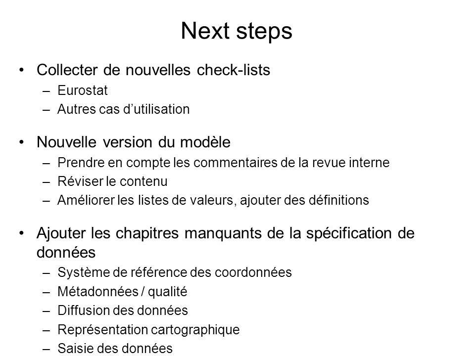 Next steps Collecter de nouvelles check-lists –Eurostat –Autres cas dutilisation Nouvelle version du modèle –Prendre en compte les commentaires de la