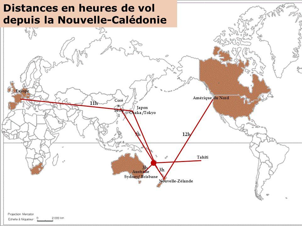 Tahiti Nouvelle-Zélande Australie Sydney/ Brisbane Japon Osaka /Tokyo Europe Amérique du Nord 9h 3h 12h 11h Coré e Séou l Distances en heures de vol depuis la Nouvelle-Calédonie