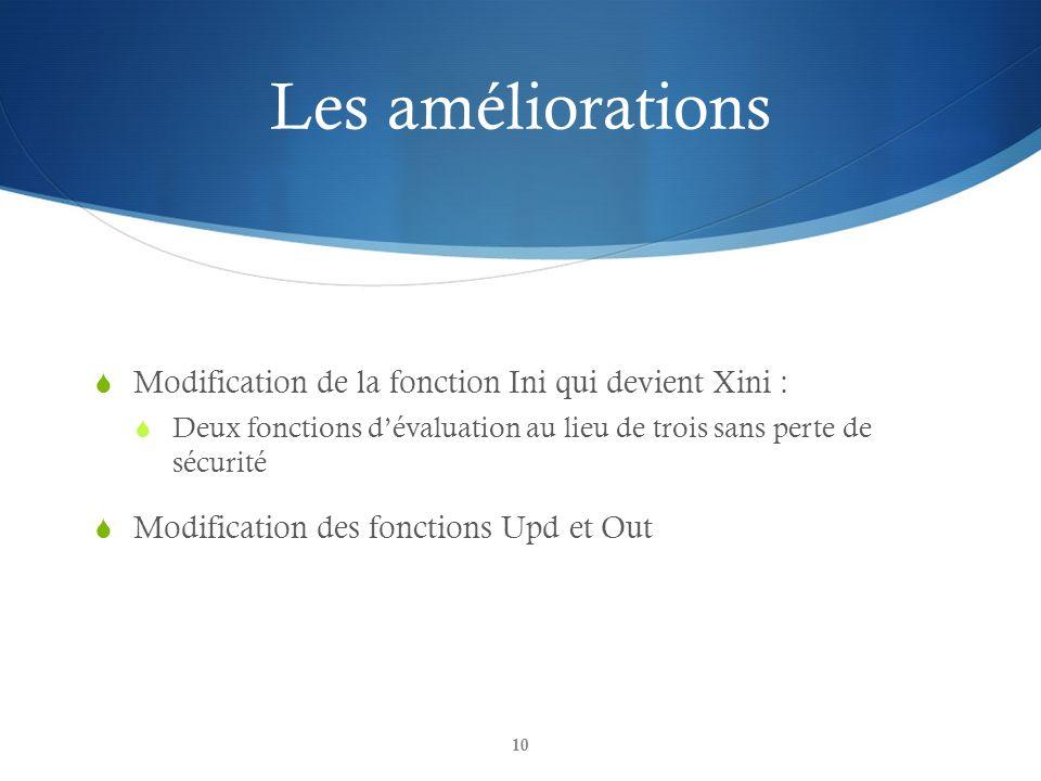 Les améliorations Modification de la fonction Ini qui devient Xini : Deux fonctions dévaluation au lieu de trois sans perte de sécurité Modification d