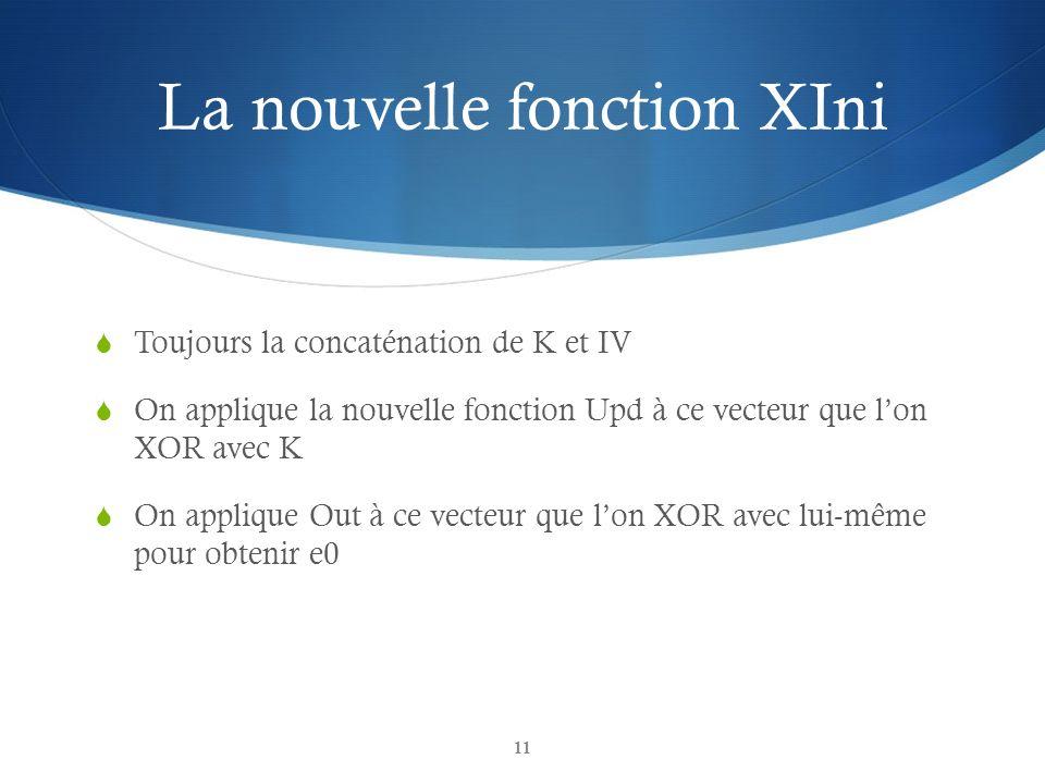 La nouvelle fonction XIni Toujours la concaténation de K et IV On applique la nouvelle fonction Upd à ce vecteur que lon XOR avec K On applique Out à