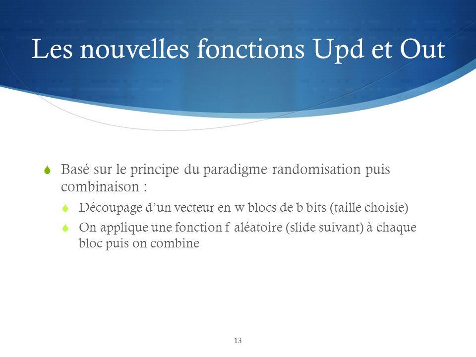 Les nouvelles fonctions Upd et Out Basé sur le principe du paradigme randomisation puis combinaison : Découpage dun vecteur en w blocs de b bits (tail