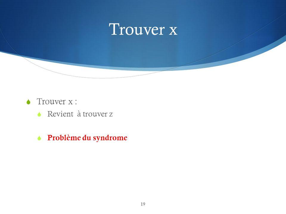 Trouver x Trouver x : Revient à trouver z Problème du syndrome 19