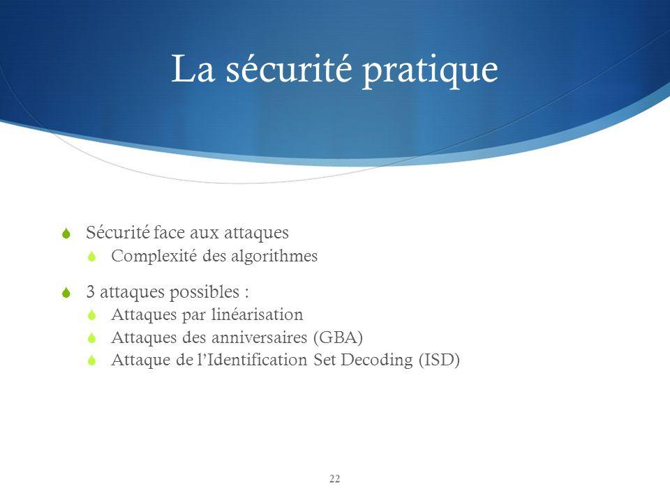 La sécurité pratique Sécurité face aux attaques Complexité des algorithmes 3 attaques possibles : Attaques par linéarisation Attaques des anniversaire