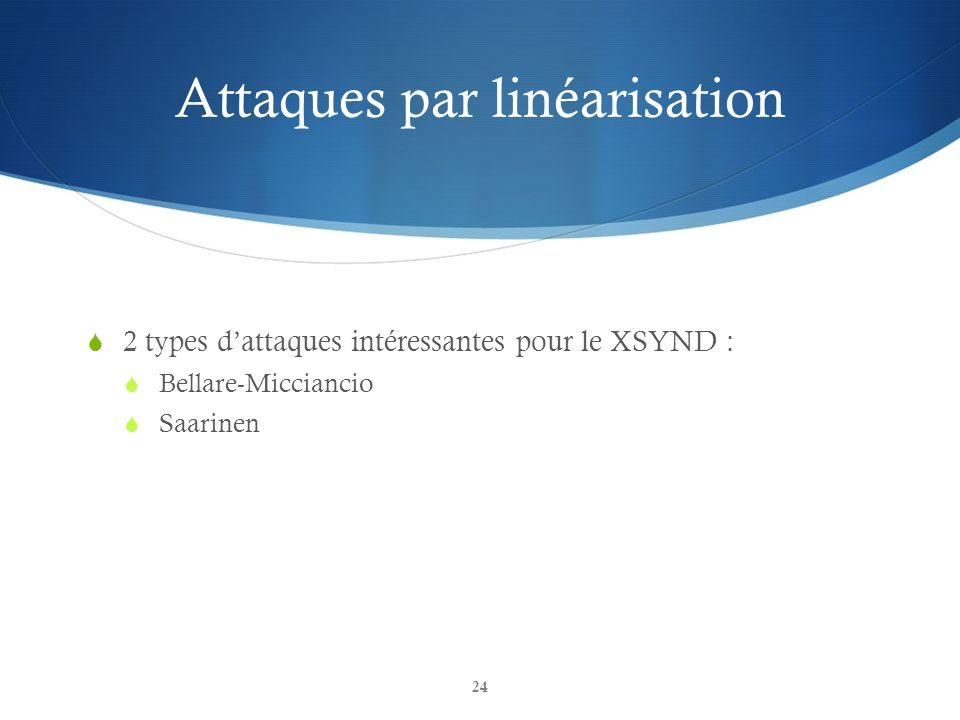 Attaques par linéarisation 2 types dattaques intéressantes pour le XSYND : Bellare-Micciancio Saarinen 24