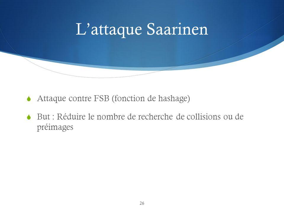 Lattaque Saarinen Attaque contre FSB (fonction de hashage) But : Réduire le nombre de recherche de collisions ou de préimages 26