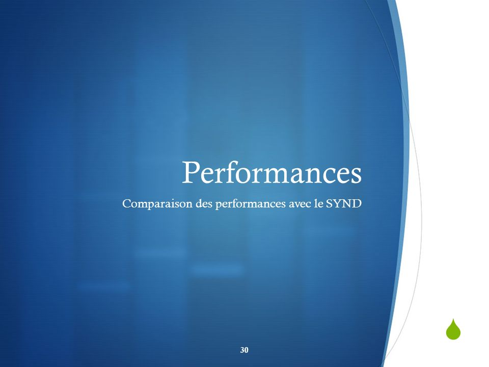 Performances Comparaison des performances avec le SYND 30