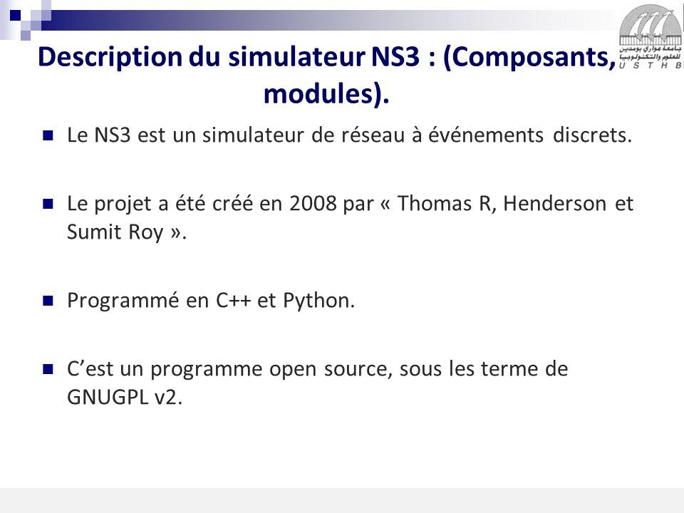 3 16/11/2013 Description du simulateur NS3 : (Composants, modules). Le NS3 est un simulateur de réseau à événements discrets. Le projet a été créé en