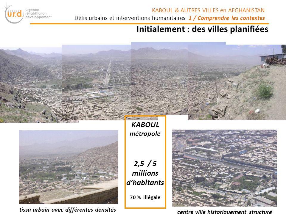 2,5 / 5 millions dhabitants 70 % illégale centre ville historiquement structuré tissu urbain avec différentes densités KABOUL métropole Initialement : des villes planifiées KABOUL & AUTRES VILLES en AFGHANISTAN Défis urbains et interventions humanitaires 1 / Comprendre les contextes