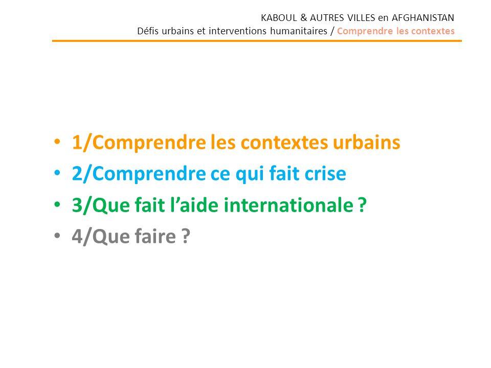 1/Comprendre les contextes urbains 2/Comprendre ce qui fait crise 3/Que fait laide internationale .