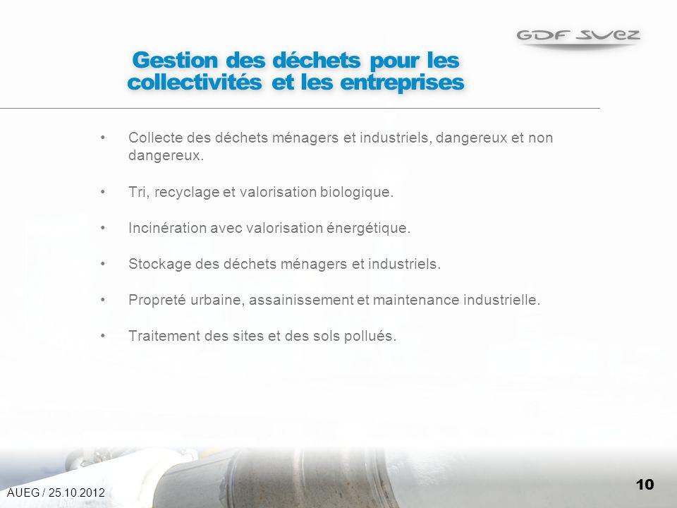 10 Gestion des déchets pour les collectivités et les entreprises Collecte des déchets ménagers et industriels, dangereux et non dangereux.