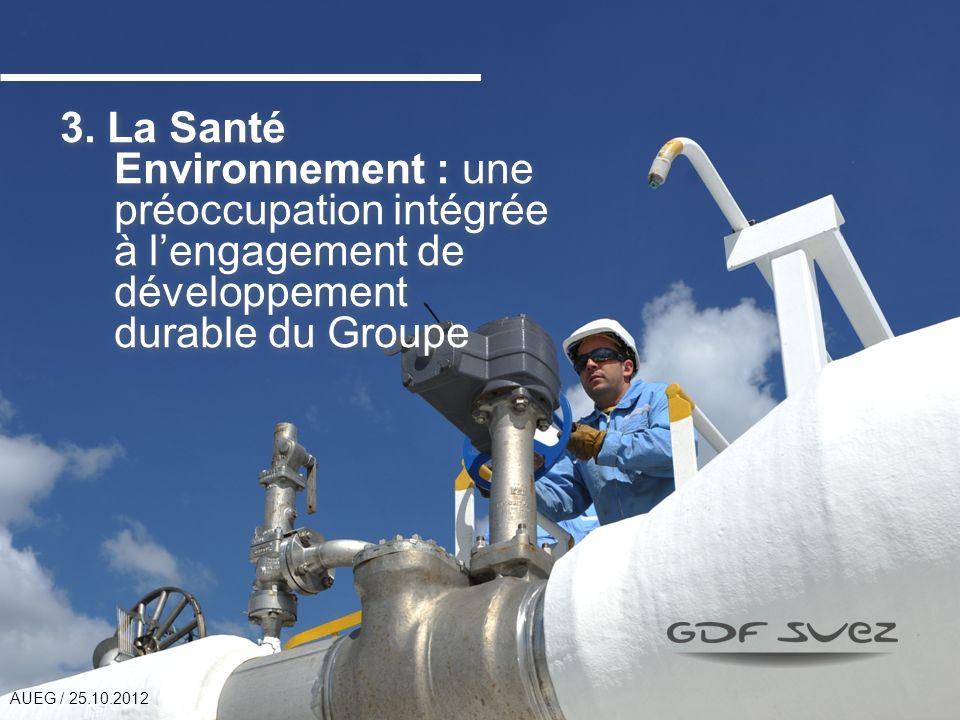 3. La Santé Environnement : une préoccupation intégrée à lengagement de développement durable du Groupe AUEG / 25.10.2012
