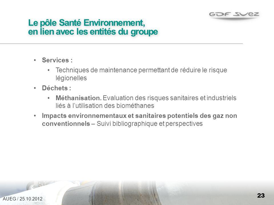 23 Le pôle Santé Environnement, en lien avec les entités du groupe Services : Techniques de maintenance permettant de réduire le risque légionelles Déchets : Méthanisation.