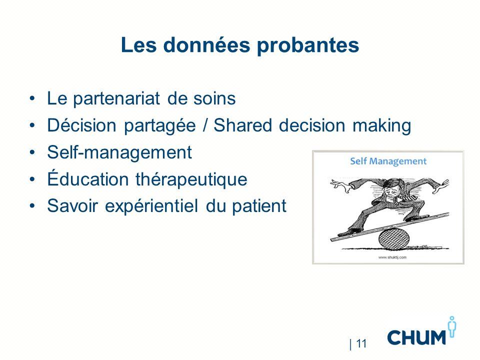 Les données probantes Le partenariat de soins Décision partagée / Shared decision making Self-management Éducation thérapeutique Savoir expérientiel d