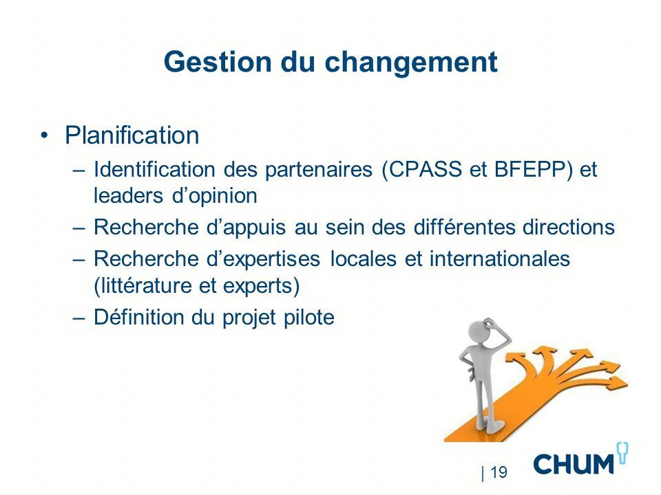 Gestion du changement Planification –Identification des partenaires (CPASS et BFEPP) et leaders dopinion –Recherche dappuis au sein des différentes di