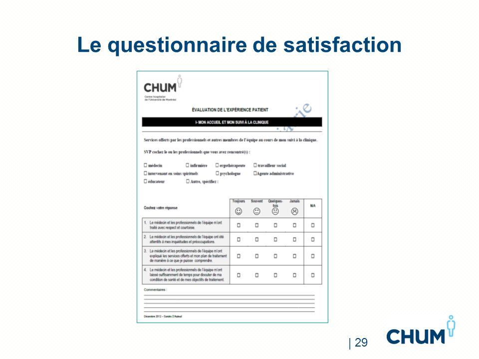 Le questionnaire de satisfaction | 29