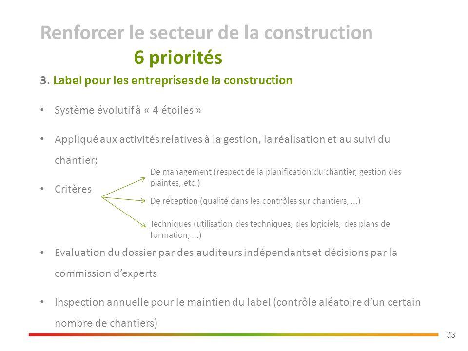 33 3. Label pour les entreprises de la construction Système évolutif à « 4 étoiles » Appliqué aux activités relatives à la gestion, la réalisation et