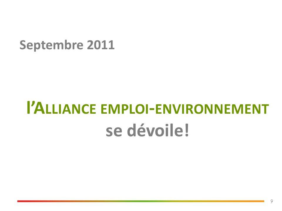 9 Septembre 2011 lA LLIANCE EMPLOI - ENVIRONNEMENT se dévoile!