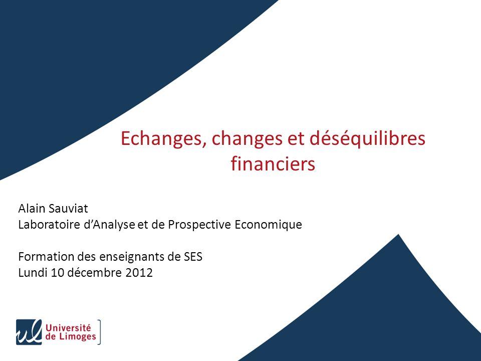 Echanges, changes et déséquilibres financiers Alain Sauviat Laboratoire dAnalyse et de Prospective Economique Formation des enseignants de SES Lundi 1