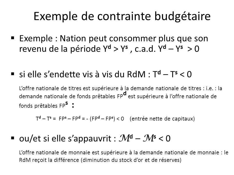 Contrainte budgétaire et comptabilité nationale (Y d –Y s ) + (T d – T s ) + ( M d – M s ) = 0 Equation fondamentale de la comptabilité nationale : Y + M = C + I + X conduit à : Y s + M = Y d + X avec Y d = C + I doù : Y d – Y s = M – X ainsi qu à M – X + Y – C – I = 0 ou encore M – X + S – I = 0 avec S = Y – C = épargne On a donc lidentification : (Y d – Y s ) + (T d – T s ) + ( M d – M s ) = 0 (M – X) + ( S – I) = 0