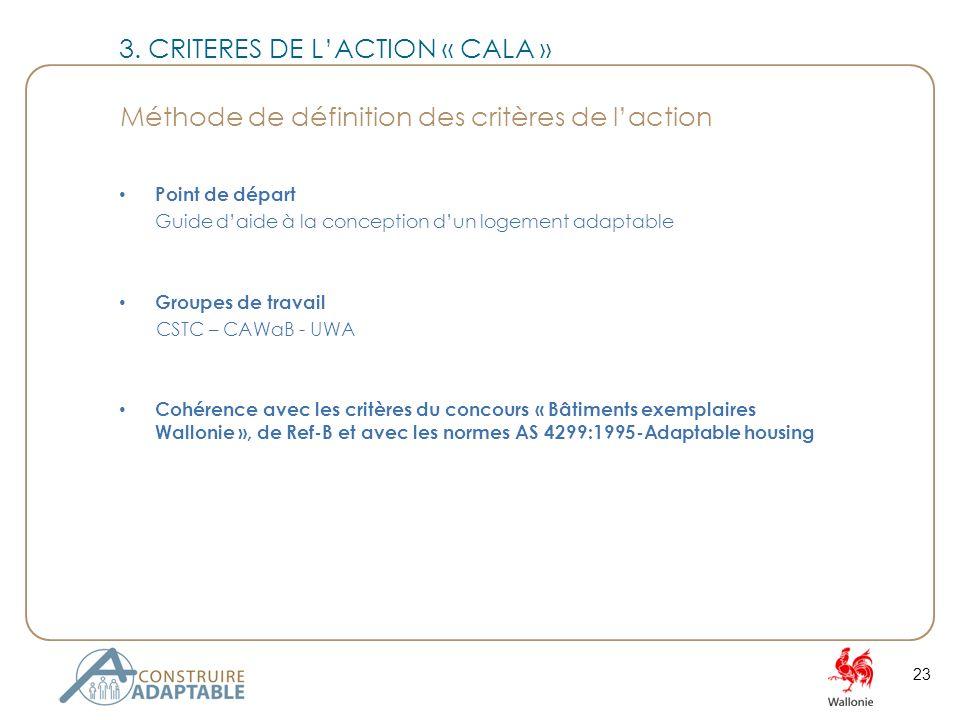 Point de départ Guide daide à la conception dun logement adaptable Groupes de travail CSTC – CAWaB - UWA Cohérence avec les critères du concours « Bâtiments exemplaires Wallonie », de Ref-B et avec les normes AS 4299:1995-Adaptable housing 23 3.
