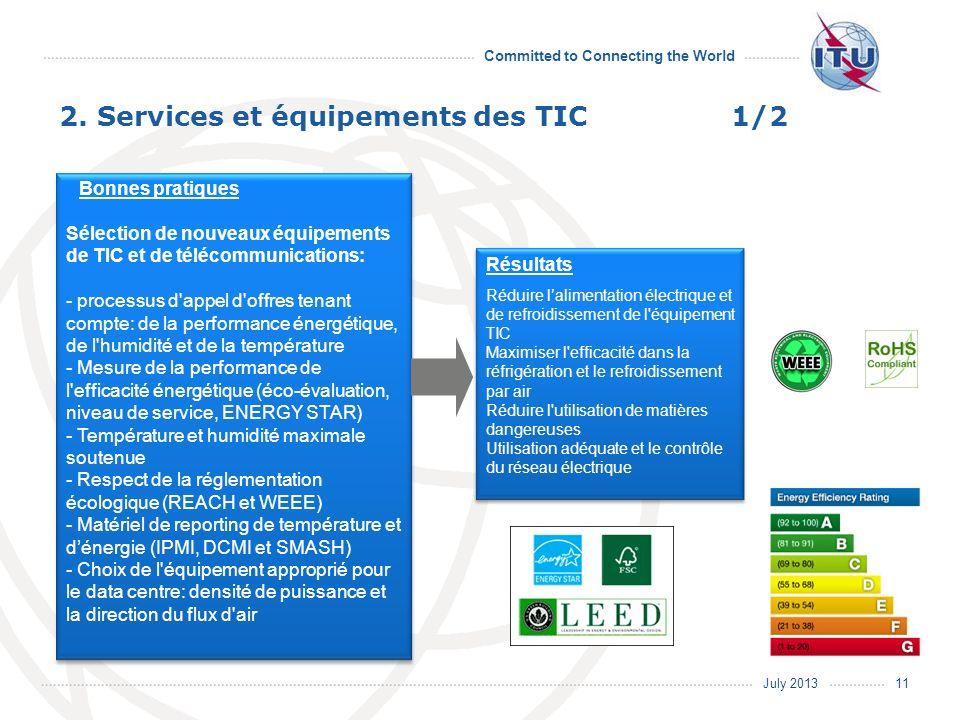 July 2013 Committed to Connecting the World Bonnes pratiques Sélection de nouveaux équipements de TIC et de télécommunications: - processus d'appel d'