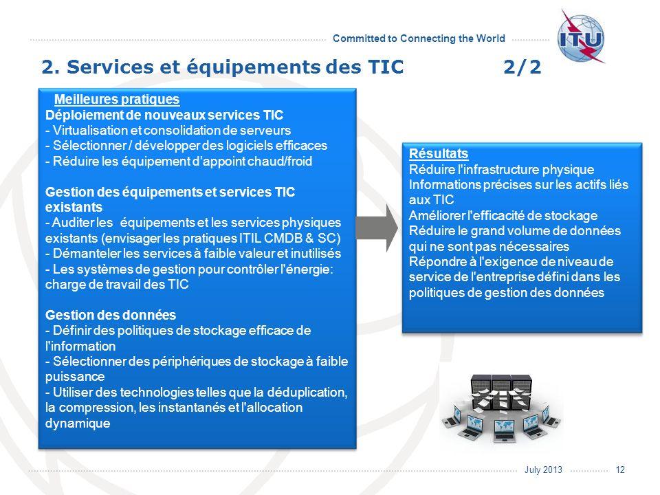 July 2013 Committed to Connecting the World Résultats Réduire l'infrastructure physique Informations précises sur les actifs liés aux TIC Améliorer l'