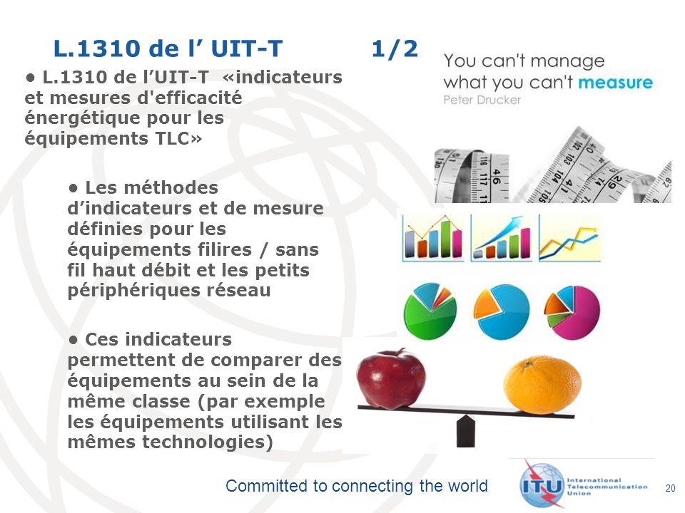 Committed to connecting the world L.1310 de l UIT-T 1/2 L.1310 de lUIT-T «indicateurs et mesures d'efficacité énergétique pour les équipements TLC» Le